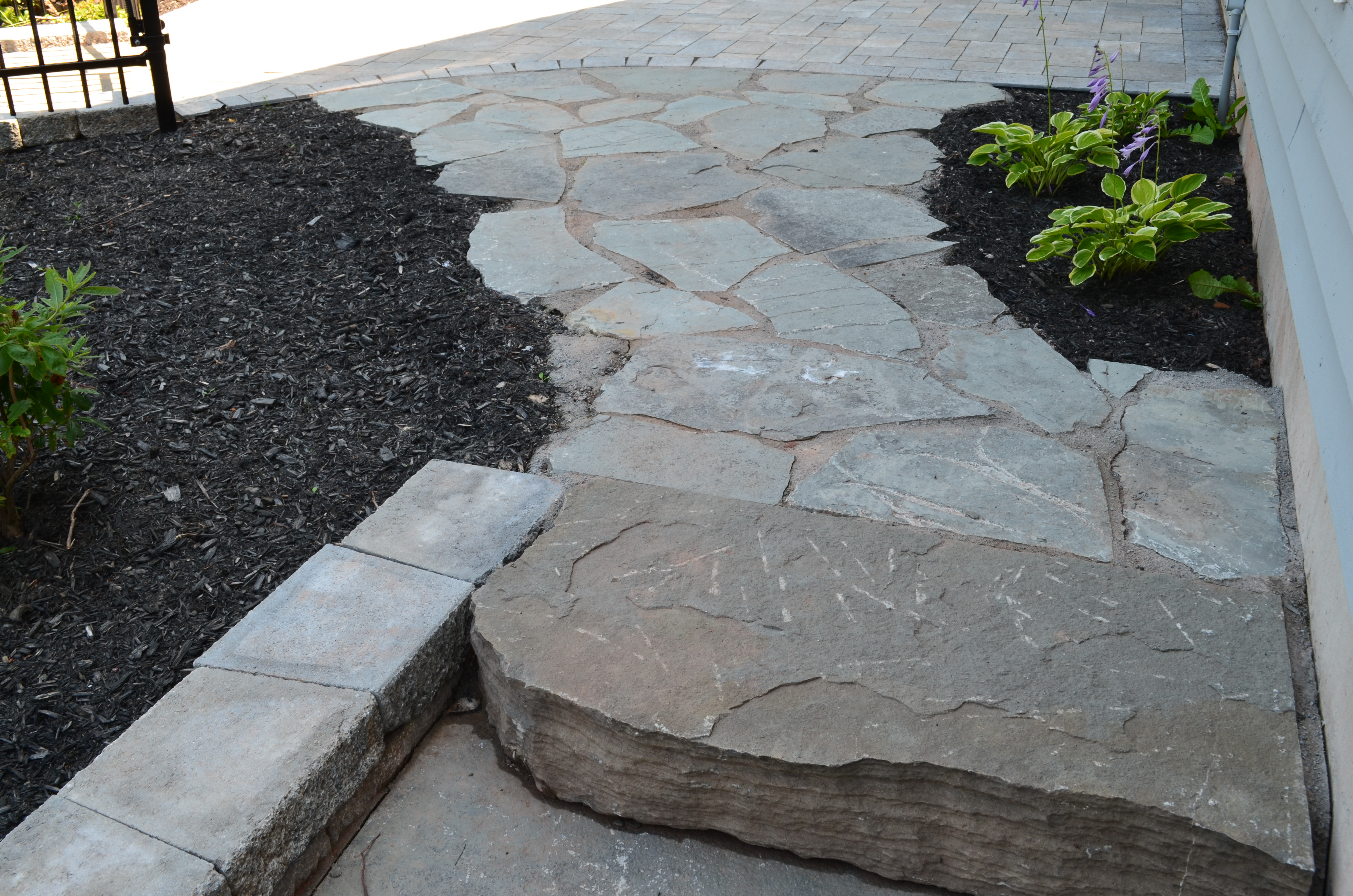 Natural stone walkways walls and steps Natural stone walkways